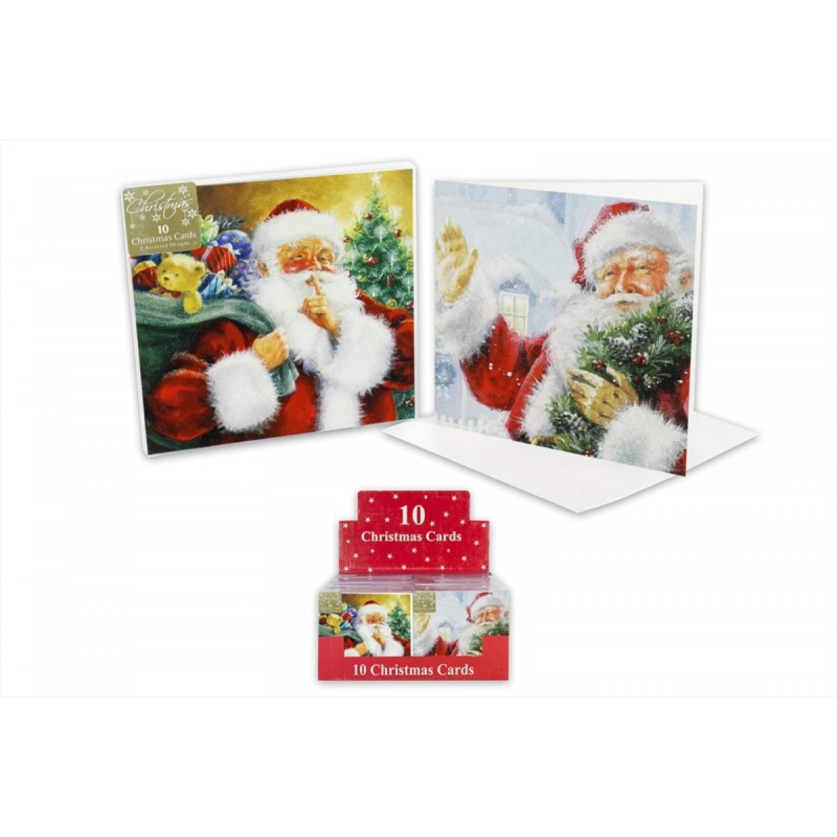 Glitter Christmas Cards.10 Traditional Santa Glitter Christmas Cards
