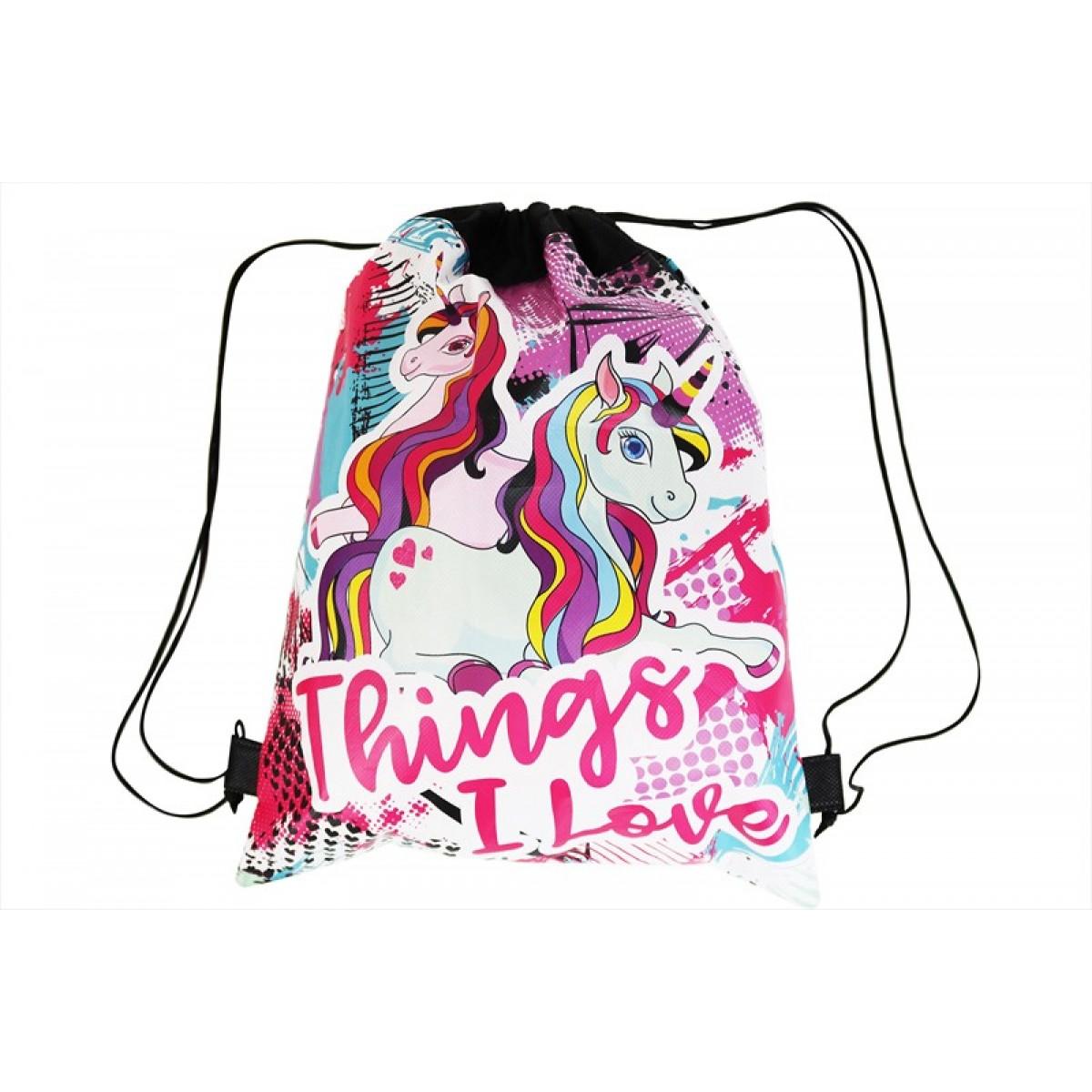 kids draw string bag funky unicorn design 35x32cm