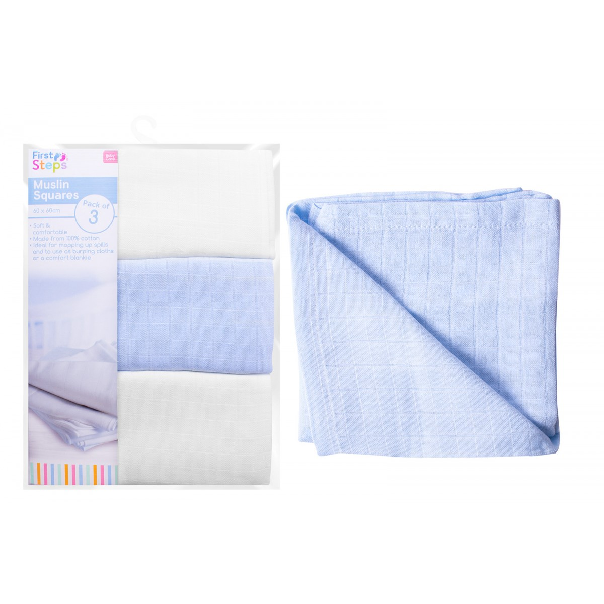 First Steps Pack of 3 Muslin Squares for Baby Soft /& Comfortable 100/% Cotton 60x60cm