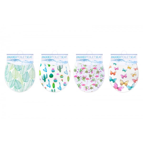 PADDED TOILET SEAT 4 ASSORTED DESIGNS