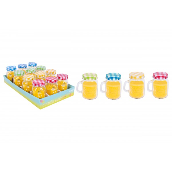 CITRONELLA CANDLE IN JAR 4 ASSORTED COLOURS