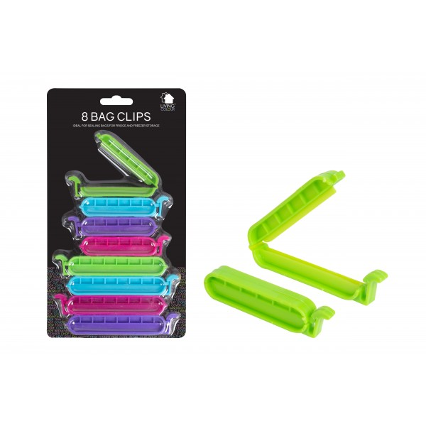BAG CLIPS 10 PACK 4 ASSORTED COLOURS