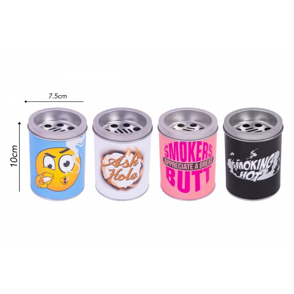 TIN WINDPROOF ASHTRAY 4 ASSORTED COLOURS