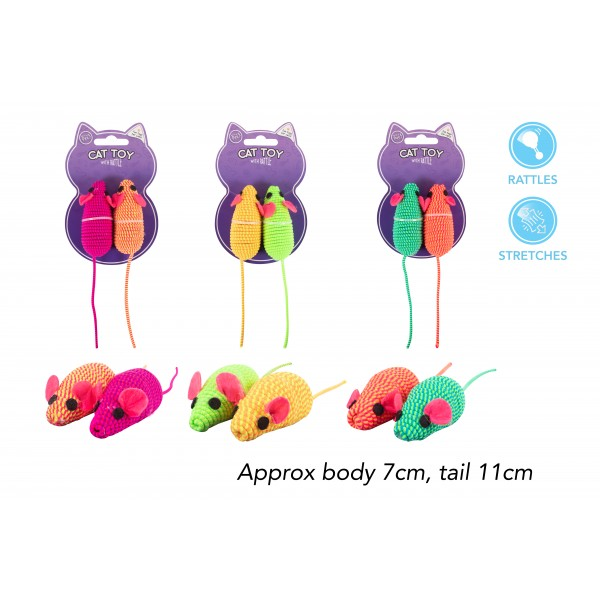 World of pets MOUSE CAT TOY 2 PACK 3 ASSORTED COLOURS