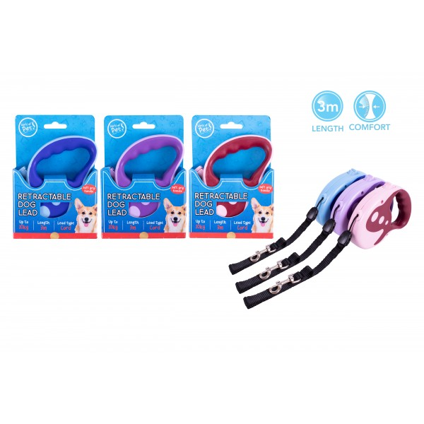 World of pets RETRACTABLE DOG LEAD 3M 3 ASSORTED COLOURS