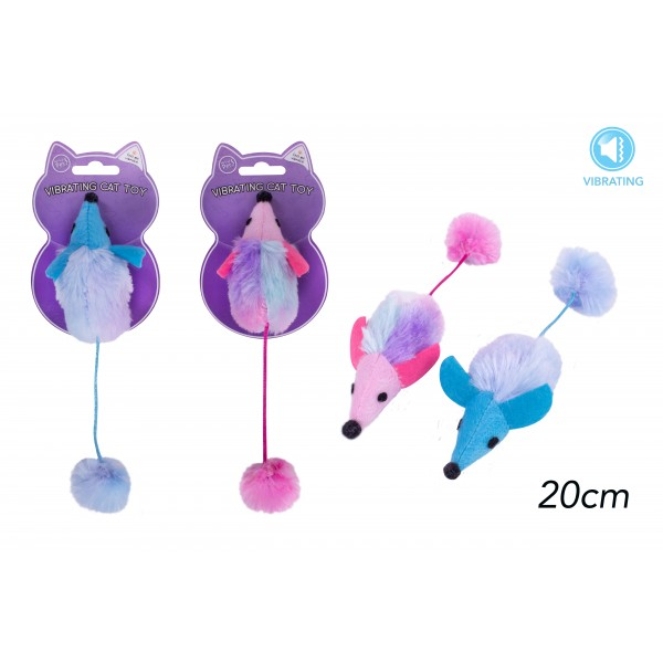 VIBRATING MOUSE CAT TOY 2 ASSORTED COLOURS