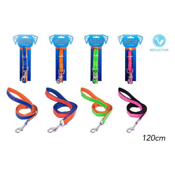 REFLECTIVE DOG LEAD 1.2M 4 ASSORTED COLOURS