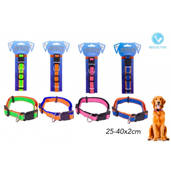 REFLECTIVE DOG COLLAR 4 ASSORTED COLOURS