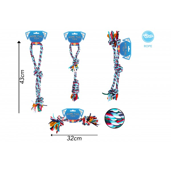 CLOTH ROPE TUG DOG TOY 4 ASSORTED DESIGNS