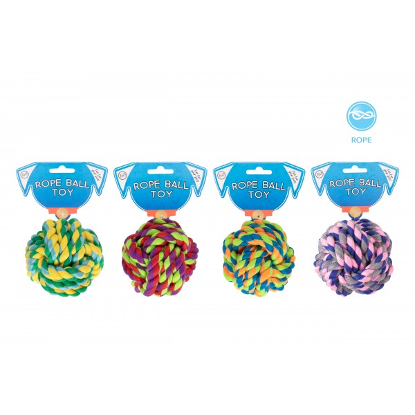 World of pets ROPE KNOT BALL DOG TOY 4 ASSORTED COLOURS