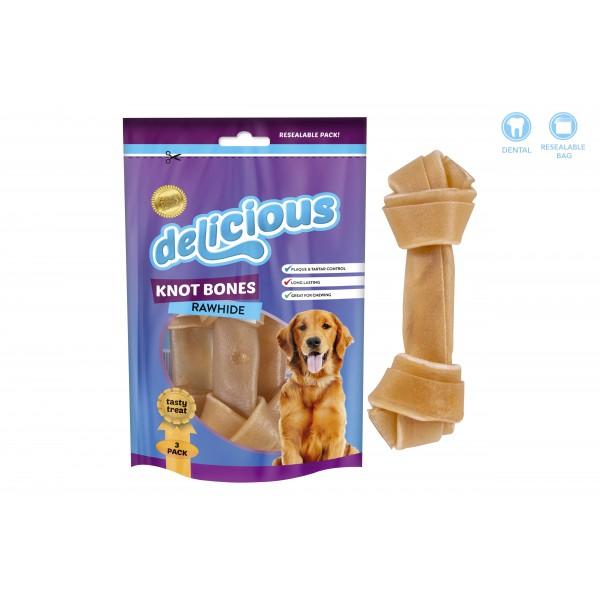 World of pets RAWHIDE KNOT BONES 3 PACK