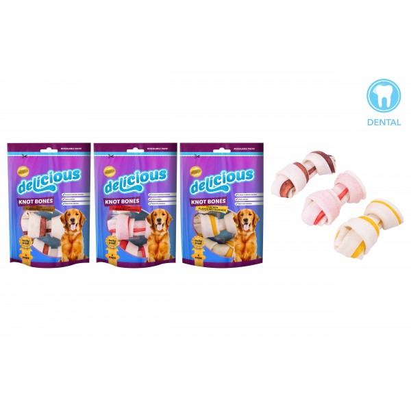 World of pets WHITE RAWHIDE KNOT BONE 3 PACK 3 ASSORTED FLAVOURS