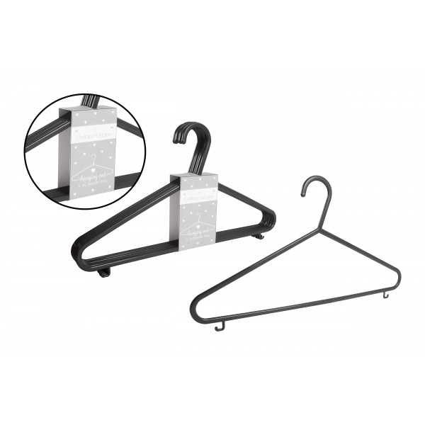 RSW BLACK CLOTHES HANGERS 6 PACK
