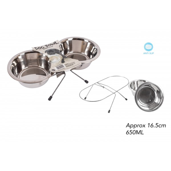 World of pets STAINLESS STEEL DOUBLE DOG BOWL 16.5CM