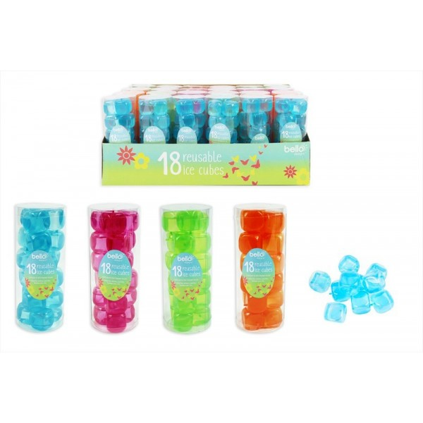 Bello REUSABLE ICE CUBES 18 PACK 4 ASSORTED COLOURS