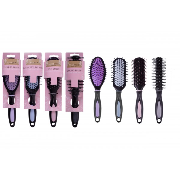 Glamour Essentials HAIRBRUSHES IN DISPLAY UNIT 4 ASSORTED STYLES
