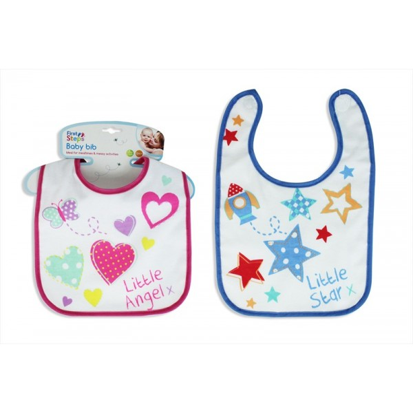 2 ASSORTED BABY DRIBBLE FEEDING BIBS PINK AND BLUE - FIRST STEPS ... 5101eeac2979