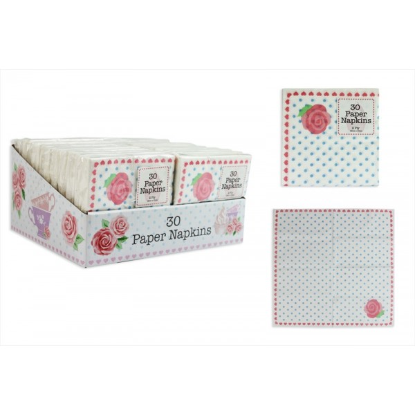 Pack of 30 Afternoon Tea Style 2 Ply Paper Napkins AM1733