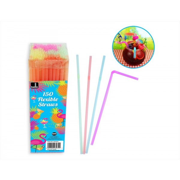 Flexible Straws Pk150 PVC Box 4 Assorted Colours AM3032