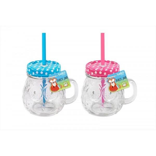 Kids Owl Mason Drinking Jar 350ml 2 Assorted Cols AM2107