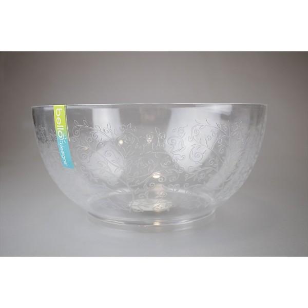 Clear Salad Bowl Etched Design 25x12cm AM2133