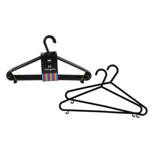 Pack of 20 Black Plastic Clothes Hangers AM5696