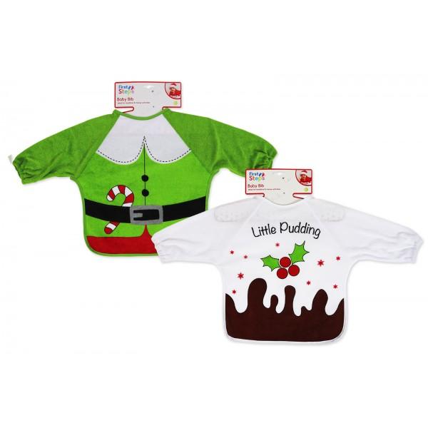CHRISTMAS LONG SLEEVE BIB ELF & PUDDING