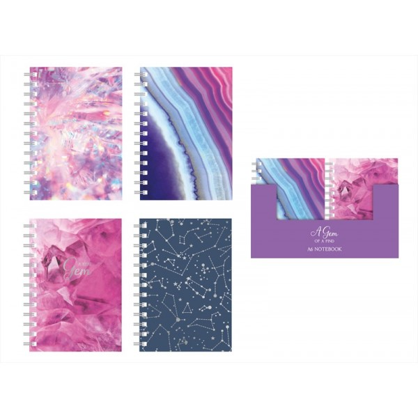 A6 Lined Note Book Four Jewel Designs FN1002