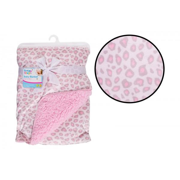 Mink Sherpa Blanket Pink Animal Print FS740