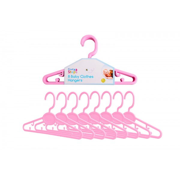 First Steps BABY CLOTHES HANGERS 8 PACK PINK