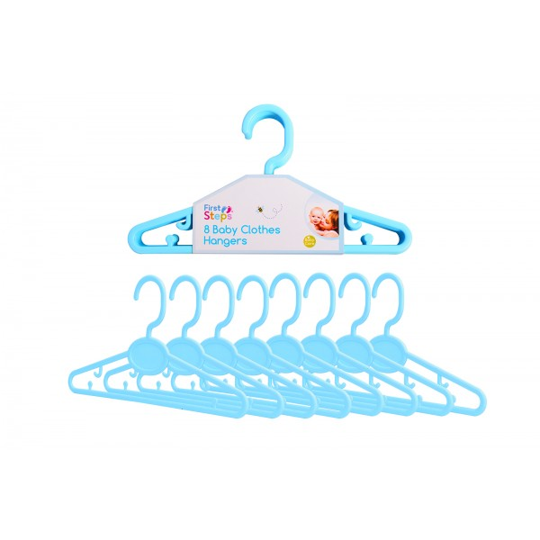First Steps BABY CLOTHES HANGERS 8 PACK BLUE