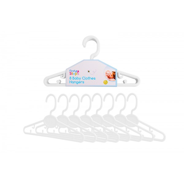 First Steps BABY CLOTHES HANGERS 8 PACK WHITE