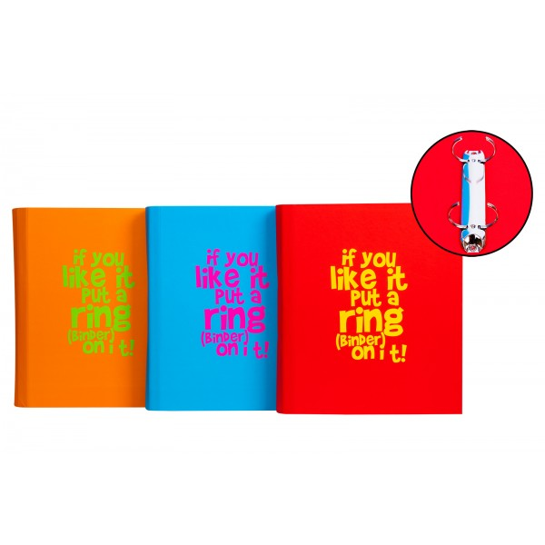 Cheeky Monkey A4 RING BINDER 3 ASSORTED COLOURS