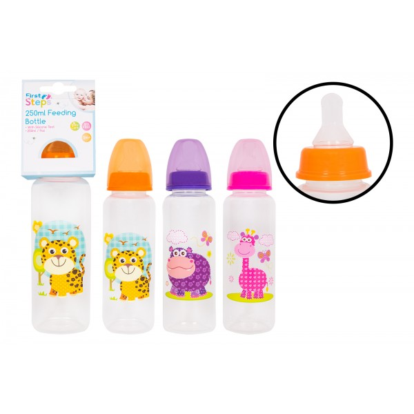 First Steps  BABY FEEDING BOTTLE  250ML 3 ASSORTED DESIGNS