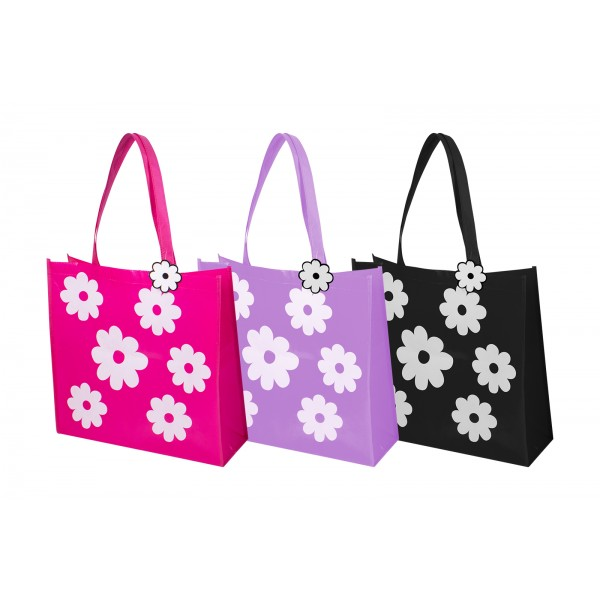 RSW FLOWER SHOPPING BAG 3 COLOURS 43X40X14CM
