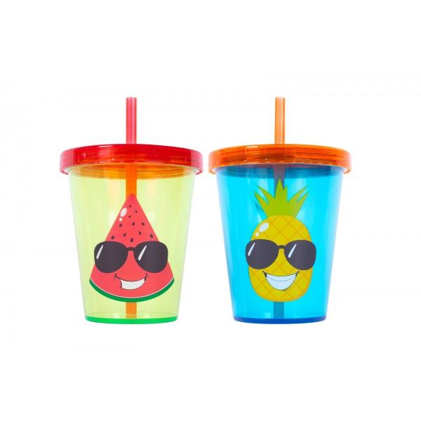 400ml Kids Beaker with Lid & Straw Two Designs