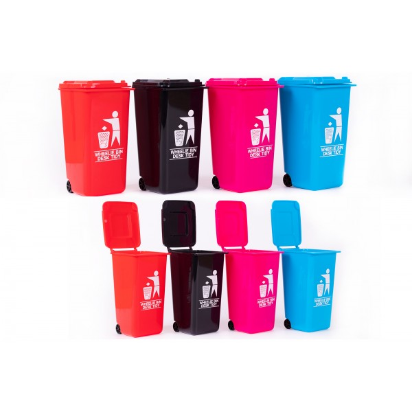 Cheeky Monkey WHEELIE BIN DESK TIDY 4 COLOURS FUN QUOTE