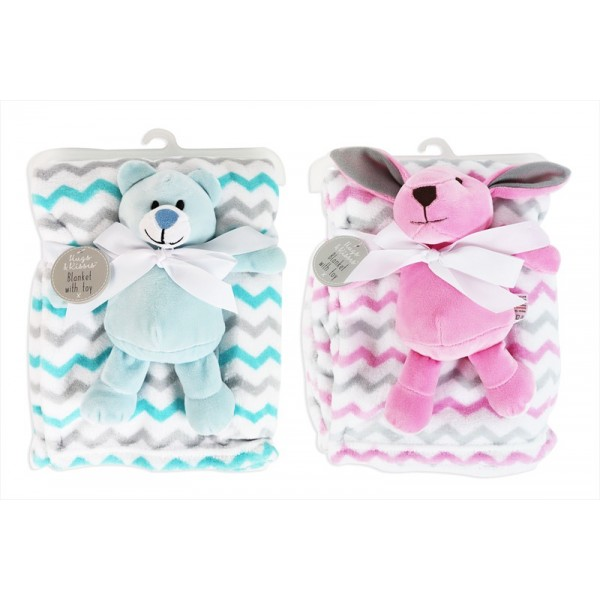 Hugs & Kisses SUPER SOFT BABY COMFORT BLANKET WITH TOY