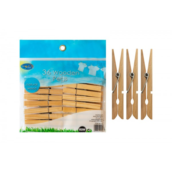 WOODEN LAUNDRY SPRING CLOTHES PEGS 36 PACK
