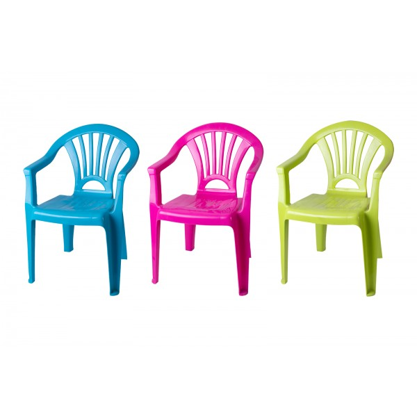 KIDS PLASTIC CHAIR 3 ASSORTED COLOURS