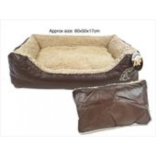 FAUX LEATHER PET BED WITH CUSHION