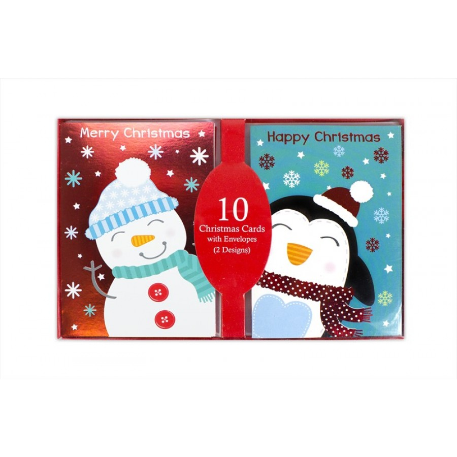 CUTE RED/BLUE SNOWMAN & PENGUIN CHRISTMAS CARDS