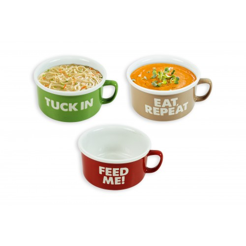 Mad About Mugs BOWL WITH HANDLE 20OZ 3 ASSORTED COLOURS