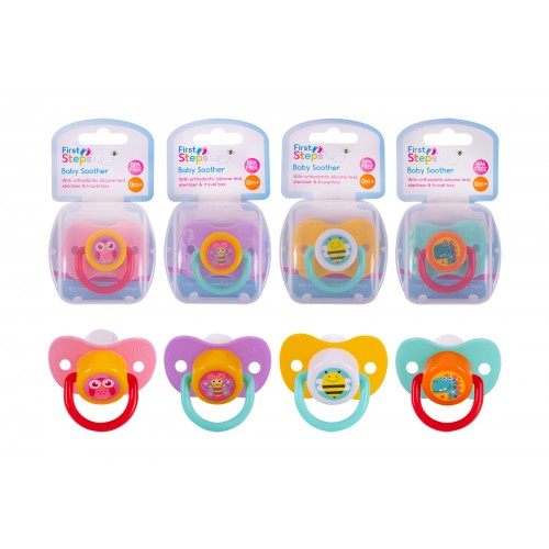 Soother with Steriliser Box Four Assorted Designs