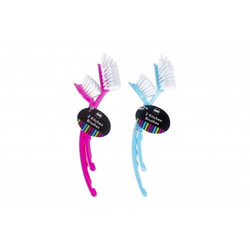 Brights Kitchenware DISH BRUSHES 2 PACK 2 ASSORTED COLOURS