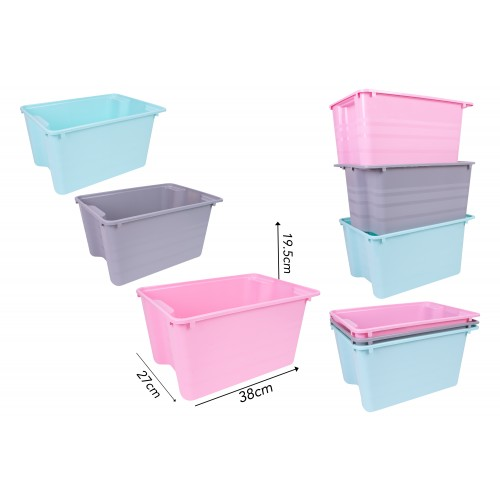 Brights Kitchenware STACK N STORE BOX 25L 4 ASSORTED COLOURS