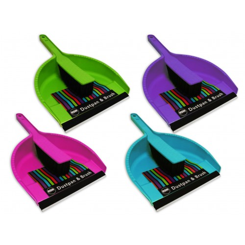 Brights Kitchenware DUSTPAN & BRUSH 4 ASSORTED COLOURS