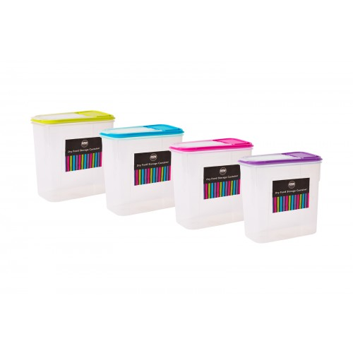 RSW DRY FOOD STORAGE CONTAINER 2L 4 ASSORTED COLOURS