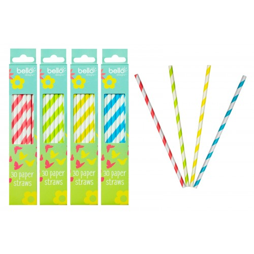 Bello PAPER DRINKING STRAWS 30 PACK 4 ASSORTED COLOURS
