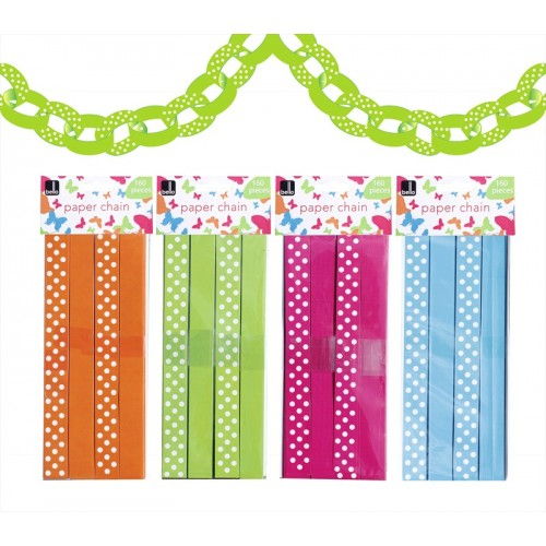 PAPER CHAIN 4 ASSORTED COLOURS APPROX 10M